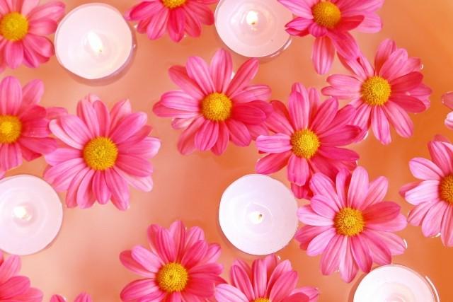 キャンドルと花の画像