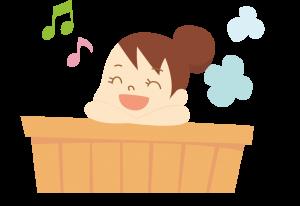 お風呂場で歌う女性のイラスト