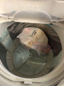 いつでもいっしょのトロを洗濯機で脱水にかけた様子