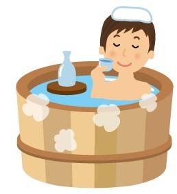 温泉タオル乗せ